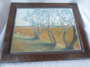 Vintage Painting Trees in a field in Antique Oak frame 19 1 2quot; x 16quot; $39.97