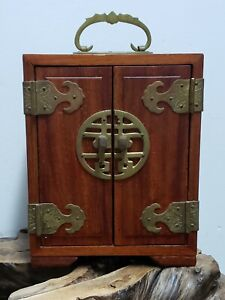 FINE CHINESE WOOD WITH BRASS THREE DRAWERS JEWELRY BOX $125.00