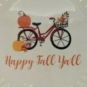 New Set Of 8 Melamine Dinner Plates quot; Happy Fall Y#x27;allquot; Pumkin Bicycle $29.99