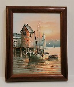 Vintage Max Savy MCM Harbor Fishing Boat Lighthouse Oil Painting Walnut Frame $85.00