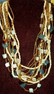 Vtg Mother of Pearl multi strand glass oval beads Necklace MOP Bead 20 24 $15.00