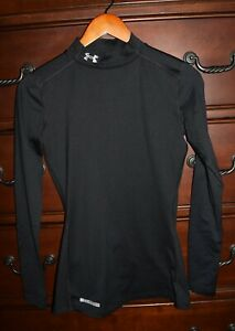 Womens Under Armour Cold Gear Mock Neck Base Layer Athletic Shirt Black Size XS $23.95