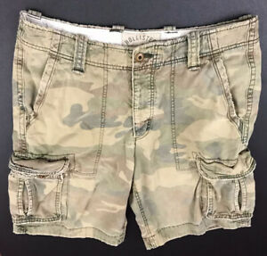 Mens HOLLISTER Cargo Camo Camouflage Shorts Faded Worn Distressed Men's Size 33
