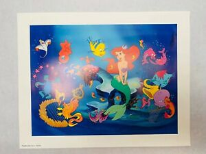"Vintage Little MERMAID Lithograph Disney Print USA 14""x11"" $18.99"