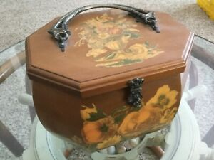 SEWING KIT • VINTAGE • Hinged Wood box • Decoupage • Floral Art • Autumn Fall $49.99