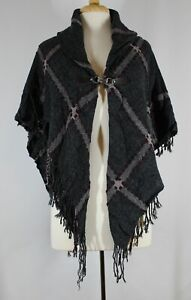 New Charcoal Color Knit Jacket with Fringe amp; Clip Closure NWOT #J58