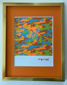 ANDY WARHOL ORIGINAL 1984 SIGNED CAMOUFLAGE MATTED TO BE FRAMED AT 11X14 $175.00