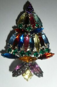 VINTAGE SIGNED KENNETH LANE MULTICOLORED STONES CHRISTMAS TREE BROOCH PIN 2 1 2quot; $49.99