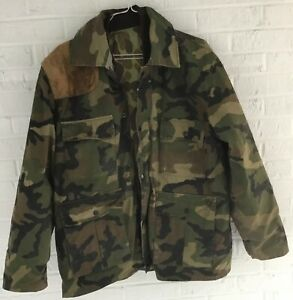 ZIP LINER WINCHESTER HUNTING CAMO COAT MENS L JACKET 2 PIECE PARKA LEATHER REVER