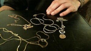 gold lot scrap 4 gold necklace gold diamond charm gold pendantgold coin $80.00