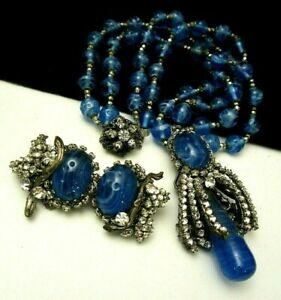 Vintage Signed Miriam Haskell Blue Glass Rhinestone Necklace amp; Earring Set A29 $800.00