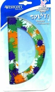 Set 12 Westcott Splat Soft Touch Protractor 6 Inch 180 degree Ruler ORANGE PURP $19.99