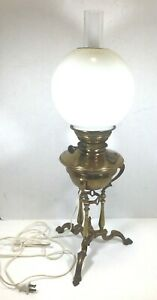 """ANTIQUE BRASS VICTORIAN OIL LAMP CONVERTED W CHIMNEY amp; GLOBE 24 1 2""""H GREAT $125.00"""
