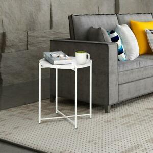 Side Table Round White Modern Home Decor Coffee Tea End Table for Living Room $26.98