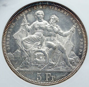 1883 SWITZERLAND ANTIQUE SHOOTING FESTIVAL Swiss Silver 5F Coin ANACS i86940 $1123.65