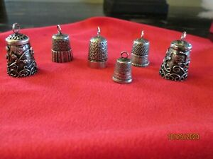 4 Antique and 2 Mexican Sterling Silver Thimbles with rings for chain $60.00