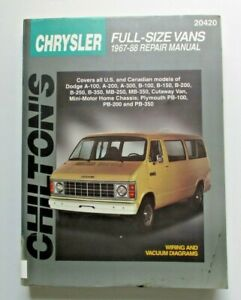 Chilton#x27;s Chrysler Full Size Vans Repair Manual 1967 Pre owned 1988 20420