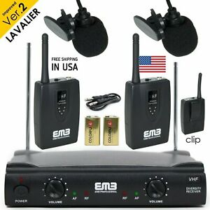 Professional Wireless Microphone System Dual Lavalier 2 x Mic Cordless Receiver $46.99