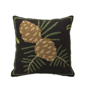 Pine Cone Hooked Pillow 18quot; Square Indoor Outdoor $38.00