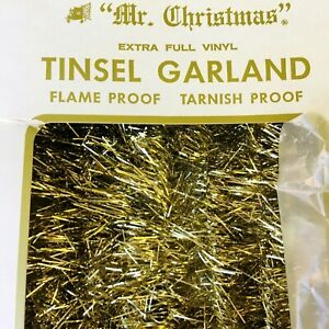 Vintage Tinsel Garland 18 ft Mr. Christmas Gold Vinyl USA New In Open Box
