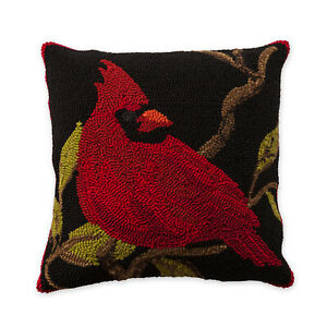 Cardinal Hooked Pillow 18quot; Square Indoor Outdoor $38.00
