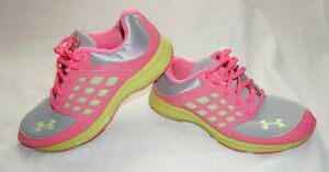 Youth Girls Gray amp; Hot Pink UNDER ARMOUR Athletic Sneakers Shoes Sz 3Y $19.99
