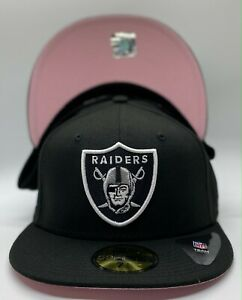 Las Vegas Raiders Black New Era SB XVIII Patch 59Fifty Fitted Pink Under Visor $44.99
