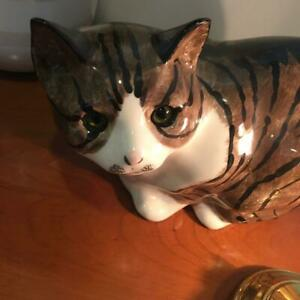 N.S.GUSTIN Glass Eye Cat Pottery 18 cm Ornament 1970s Antique From Japan Used $310.66