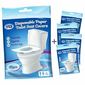 Disposable Toilet Seat Covers Flushable Paper Travel Pack 50 Count