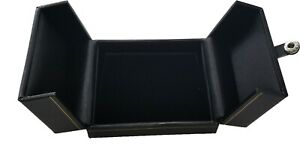 Deluxe Black Leatherette Necklace Box Jewelry Storage Organizer Display Case