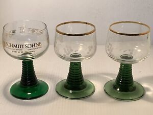 Set Of 3 Vintage Grapevine With Green Beehive Stem Wine Glasses $28.10