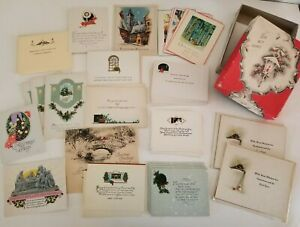 40 Vintage 20s 30s Unused Greeting Cards Lot Christmas New Year Antique with Box $50.00