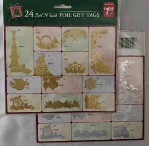 2 pk Gold Silver Red FOIL Christmas Holiday 24 Peel and Stick Gift Tags $4.00