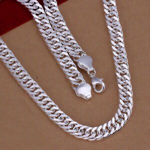 Silver Curb Cuban Chain Necklace For Men Women Made In Italy