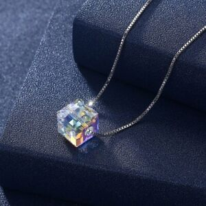 Wedding Gift Rainbow Mystic Topaz Gemstone Silver Charm Heart Necklace Pendants