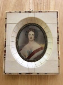 Beautiful Antique Signed Stieler Miniature Portrait Painting With Bone Frame $70.00