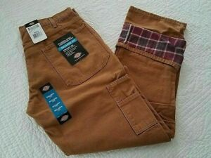 NEW DICKIES MENS RELAXED FIT FLANNEL LINED CARPENTER PANTS $27.99