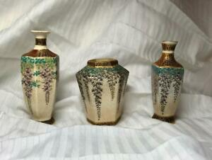 3 Kozan Signed Satsuma Miniature Vases Meiji Antique Japan Pottery Ceramic