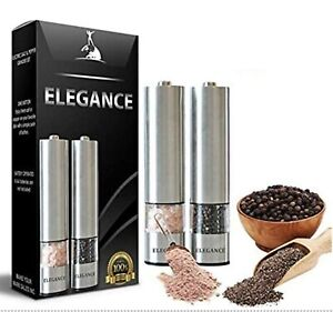 Electric Salt and Pepper Grinder Set Battery Operated Stainless Steel Mill ...