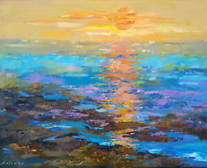 ORIGINAL OIL PAINTING HUGE SIZE ABSTRACT WALL ART SEA SUNSET OCEAN WATER BRIGHT $420.00