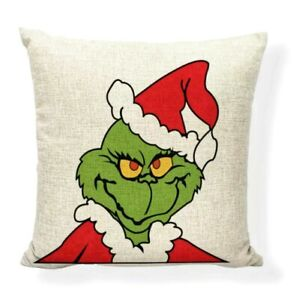 18quot;x18quot; Grinch Pillow Cover Case Dr Seuss Christmas Linen Throw Pillow $16.99