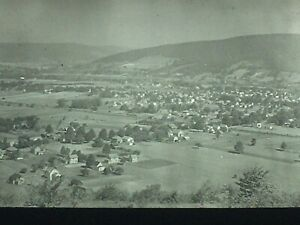 1930 Magic Lantern Slides Salamanca New York TOWN VIEW FROM ABOVE ON HIGHWAY