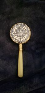 Chinese Antique Hand Mirror w Jade Handle Silver Rim Inlaid w Porcelain Beauty $28.00