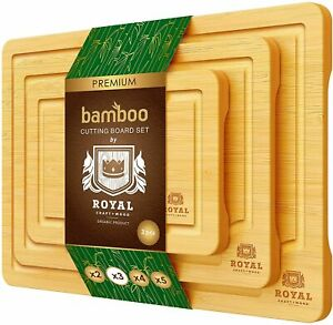 Bamboo Cutting Board Set Best Wood Butcher Blocks for Kitchen w Handles 3Pcs $29.97