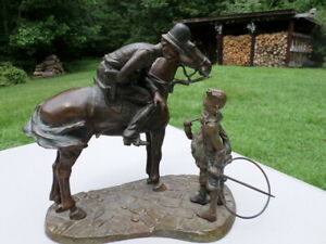 quot;Fine Bronze By KENNETH OTTINGER Fine Artist Policeman on horse w boys only 3 12 $499.99