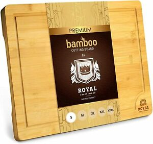 Bamboo Wood Cutting Board for Kitchen Butсher Block with Handles amp; Juice Groove $29.97