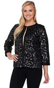 Bob Mackies Small 3 4 Sleeve Sequin Knit Jacket with Solid Trim Black S $17.59