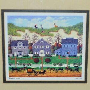 CHARLES WYSOCKI Lithograph Print quot;NANTUCKET WINDSquot; Matted Framed Art June 1981 $49.99
