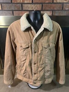 Corduroy Sherpa Lined Collar Bomber Button Up Brown Jacket Mens Size Large Beige