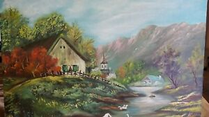 Vtg SIGNED Antique Canvas Painting Art rustic scenic Stream Geese Home picture $48.77